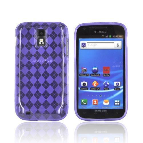 T-Mobile Samsung Galaxy S2 Crystal Silicone Case - Argyle Purple