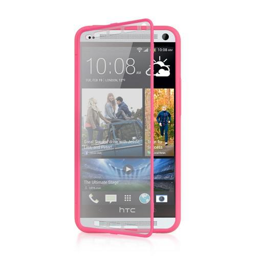 Hot Pink Crystal Silicone Skin Case w/ Clear Flip-Open Screen Protector Cover for HTC One