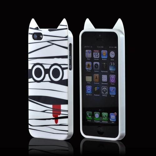 Premium Apple iPhone 5/5S Crystal Silicone Case w/ Pointy Ears - White Mummy