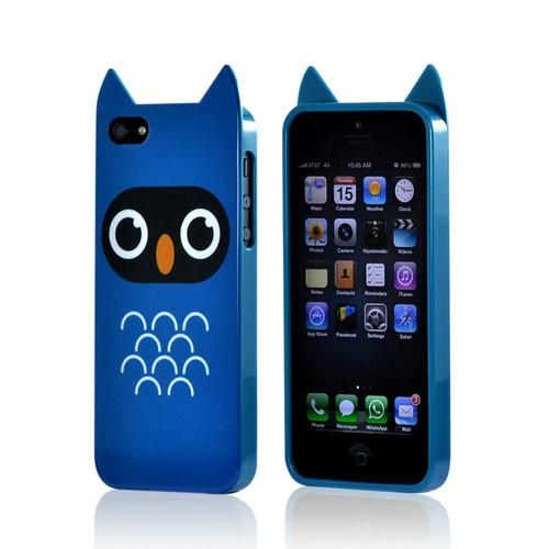 Premium Apple iPhone 5/5S Crystal Silicone Case w/ Pointy Ears - Blue Owl