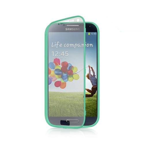 Aqua Crystal Silicone Case w/ Clear Flip-Open Screen Protector Cover for Samsung Galaxy S4