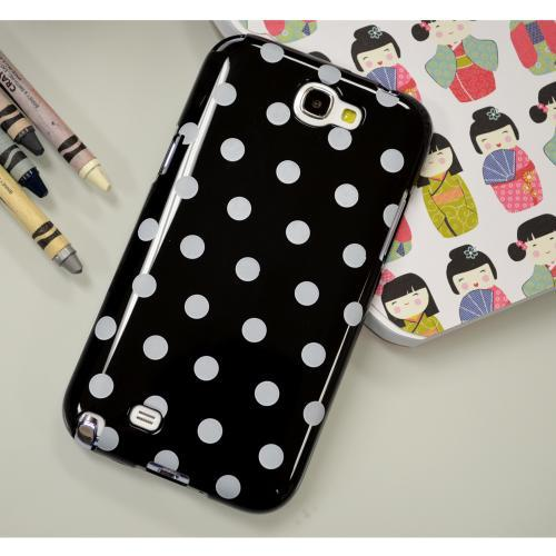 Black/ White Polka Dots Anti-Slip Dot Jelly Series Crystal Silicone Case for Samsung Galaxy Note 2
