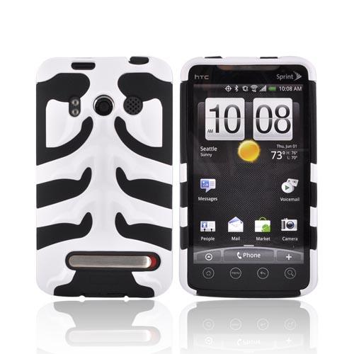 HTC EVO 4G Fish Bone Hard Case over Silicone - White on Black