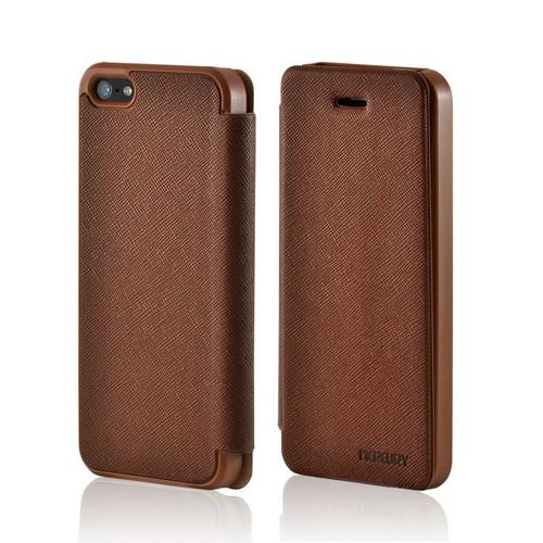 Brown Ultra Slim Faux Leather Diary Flip Case for Apple iPhone 5/5S