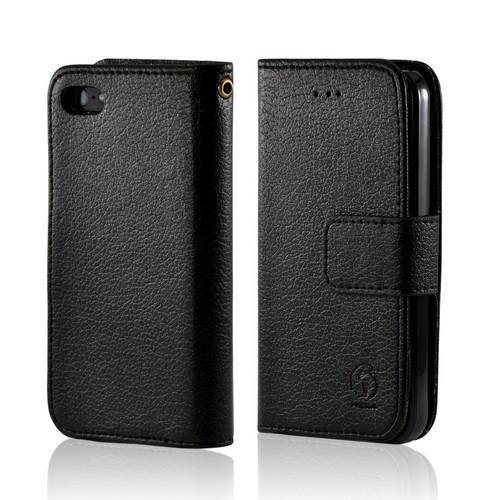 Black Hera Slim Leather Diary Flip Case w/ ID Slots for Apple iPhone 5/5S