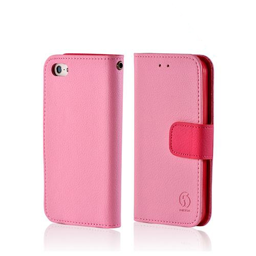 Baby Pink/ Pink Leather Diary Premium Crystal Silicone Case w/ ID Slots for Apple iPhone 5/5S