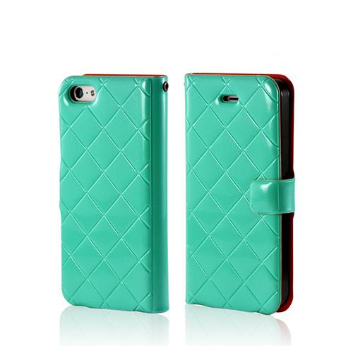 Mint/ Orange/ Black Leather Stitched Diary Premium Crystal Silicone Case w/ ID Slots for Apple iPhone 5/5S