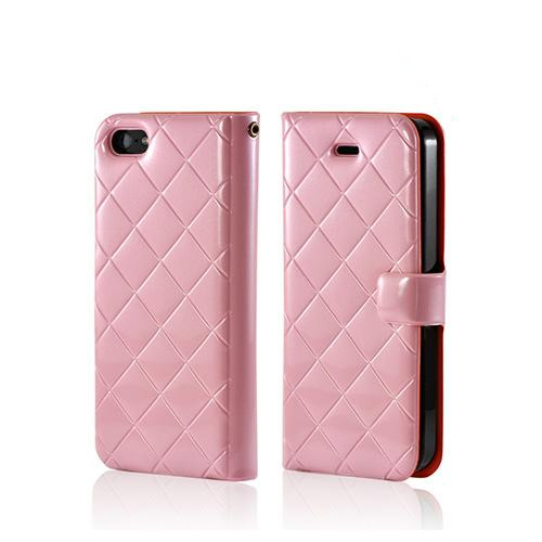 Baby Pink Quilted Patent Leather Diary w/ Crystal Silicone Case & ID Slots for Apple iPhone 5/5S