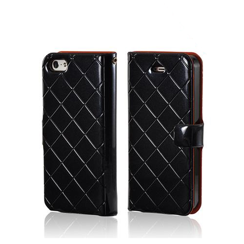 Black/ Orange  Leather Stitched Diary Premium Crystal Silicone Case w/ ID Slots for Apple iPhone 5/5S