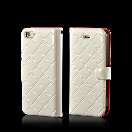 White/ Orange/ Black  Leather Stitched Diary Premium Crystal Silicone Case w/ ID Slots for Apple iPhone 5/5S
