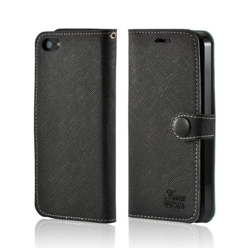 Black Ultra Slim Smart Zone Faux Leather Diary Flip Case w/ ID Slots for Apple iPhone 5/5S