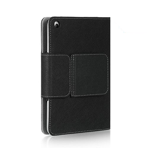 Black Premium Apple iPad Mini Faux Leather Case w/ Magnetic Closure, Kickstand, and Wireless Bluetooth Keyboard