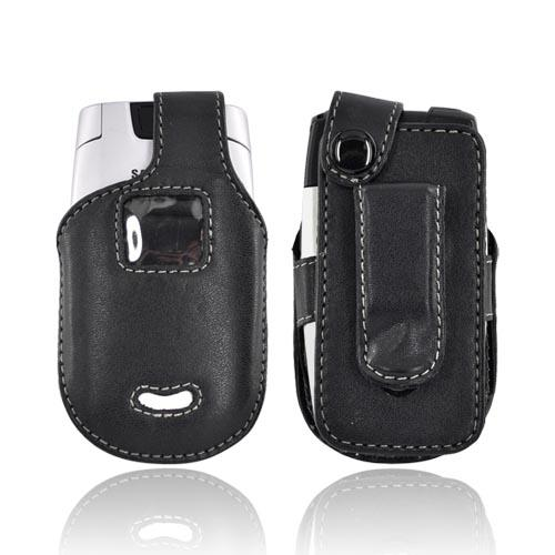 Premium Motorola V365 Leather Case w/ Belt Clip - Black