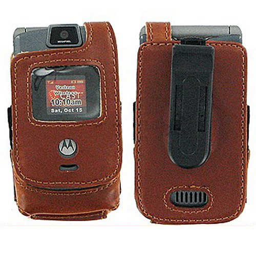 Premium Motorola RAZR V3 Leather Case w/ Swivel Belt Clip - Brown