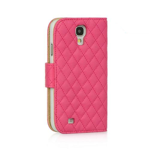 Hot Pink Quilted Faux Leather Diary Case w/ ID Slots & Sleeper Function for Samsung Galaxy S4