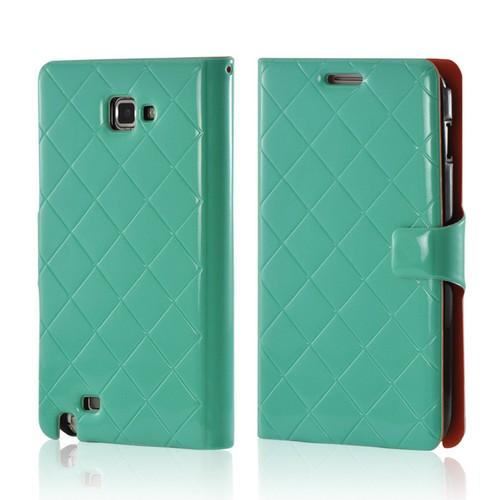 Turquoise/ Orange/ Black Leather Stitched Diary Premium Crystal Silicone Case w/ ID Slots for Samsung Galaxy Note 2