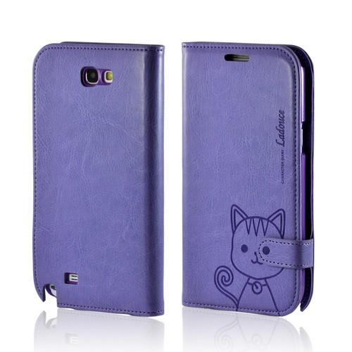 Purple Cat's Eye Leather Diary Premium Crystal Silicone Case w/ ID Slots for Samsung Galaxy Note 2
