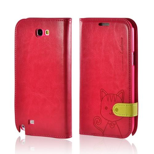 Red/ Hot Pink Cat's Eye Leather Diary Premium Crystal Silicone Case w/ ID Slots for Samsung Galaxy Note 2