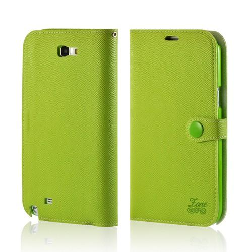 Green Ultra Slim Smart Zone Faux Leather Diary Flip Case w/ ID Slots for Samsung Galaxy Note 2