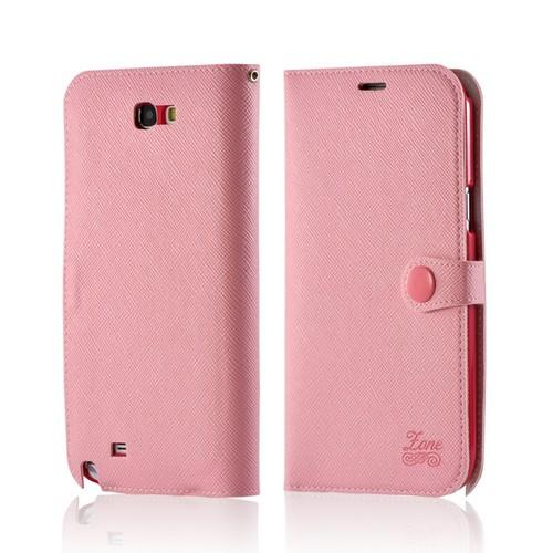 Baby Pink Ultra Slim Smart Zone Faux Leather Diary Flip Case w/ ID Slots for Samsung Galaxy Note 2