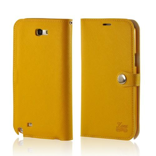 Yellow Ultra Slim Smart Zone Faux Leather Diary Flip Case w/ ID Slots for Samsung Galaxy Note 2