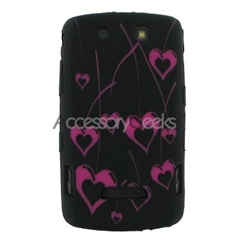 Blackberry Storm 9530 Silicone Case, Rubber Skin - Pink Cherry Hearts on Black