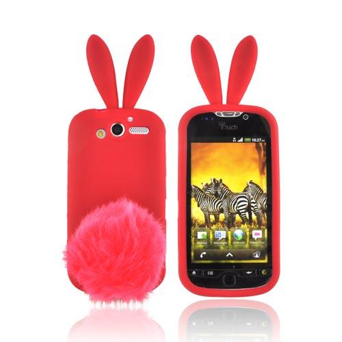 T-Mobile MyTouch 4G Silicone Case w/ Fur Tail Stand - Red Bunny