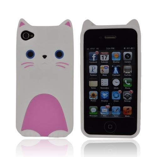 Premium AT&T/ Verizon Apple iPhone 4, iPhone Cute Cat Silicone Case - White/ Pink