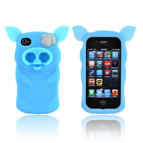 Premium Sniffie Piggie Apple iPhone 4/4s Silicone Case w/ Cord Wrapper & Earbud Holder - Sky Blue