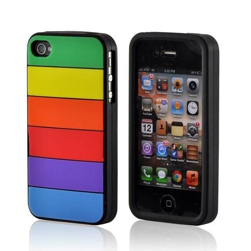 AT&T/ Verizon Apple iPhone 4, iPhone 4S Silicone Case - Rainbow on White