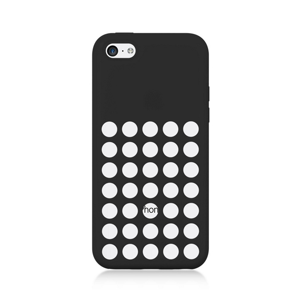 Black Silicone Skin Case w/ Holes for Apple iPhone 5C