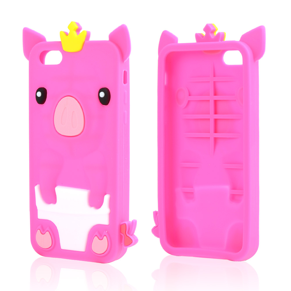 Hot Pink Pig Silicone Skin Case for Apple iPhone 5C