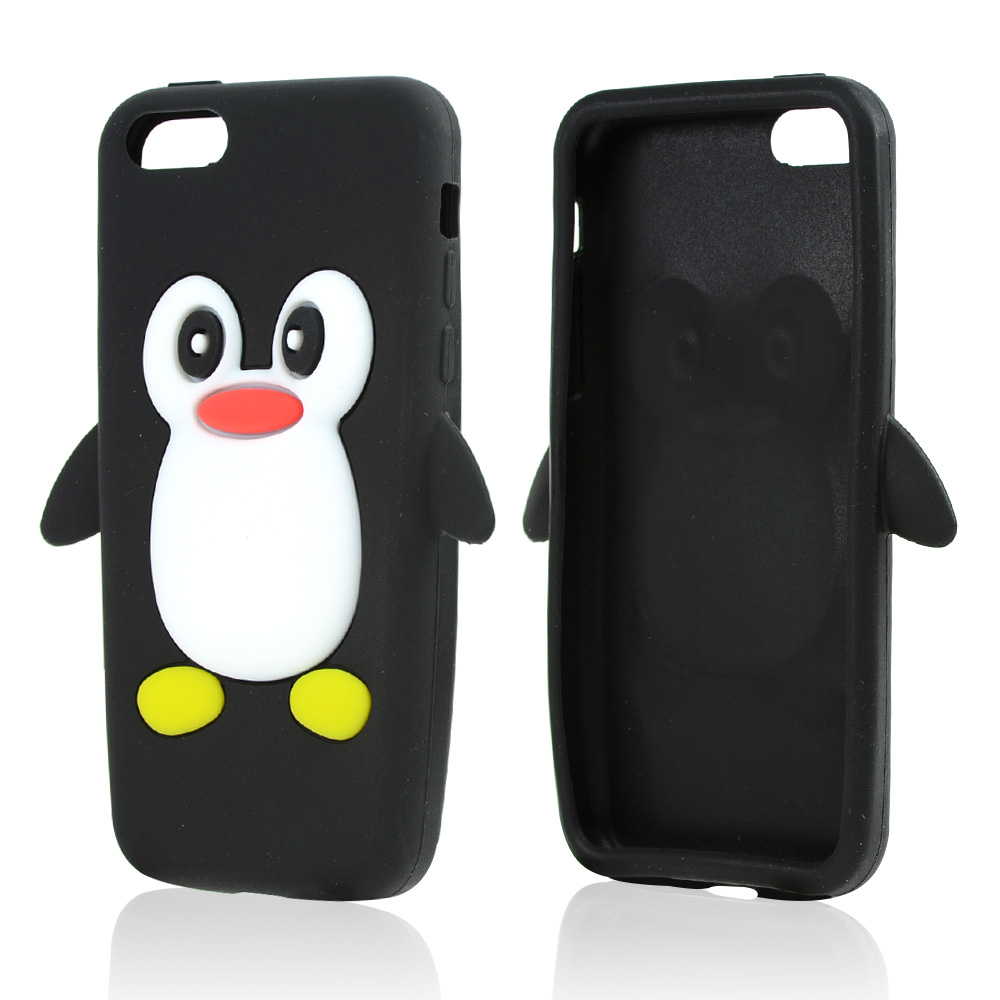 Black/ White Penguin Silicone Skin Case for Apple iPhone 5C