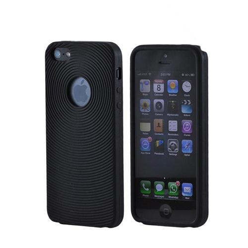 Apple iPhone 5/5S Silicone Case w/ Textured Lines - Black Circles