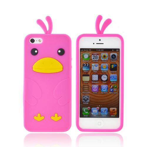 Apple iPhone 5/5S Silicone Case - Hot Pink Duck
