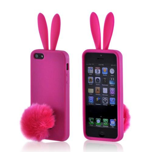 Apple iPhone 5/5S Silicone Case w/ Fur Tail Stand - Hot Pink Bunny