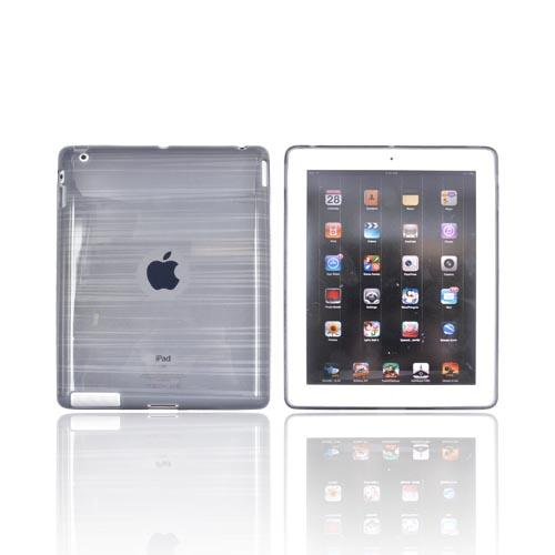 Apple iPad 2, New iPad Crystal Silicone Case - Stripes on Smoke