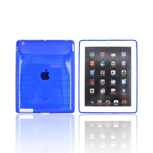 Apple iPad 2, New iPad Crystal Silicone Case - Stripes on Blue