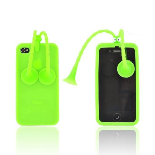 AT&T/ Verizon Apple iPhone 4, iPhone 4S Silicone Case w/ Stand - Green Bug