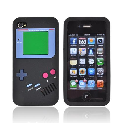 AT&T/ Verizon Apple iPhone 4, iPhone 4S Silicone Case - Black Retro Pocket Gamer