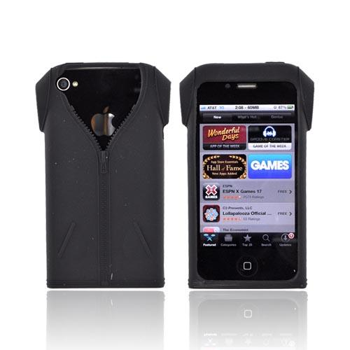 AT&T/ Verizon Apple iPhone 4 Silicone Case - Black Jacket