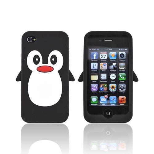 AT&T/ Verizon Apple iPhone 4. iPhone 4S Silicone Case - Black Penguin