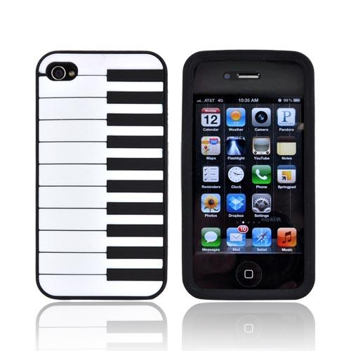 AT&T/ Verizon Apple iPhone 4, iPhone 4S Silicone Case - Black Piano
