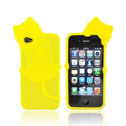 AT&T/ Verizon Apple iPhone 4, iPhone 4S Silicone Case w/ 3D Cat - Yellow
