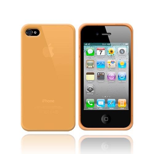 Apple iPhone 4 Silicone Case, Rubber Skin w/ Textured Surface - Orange