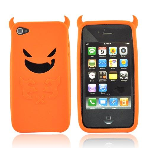 Apple iPhone 4 Silicone Case - Orange Lil Monster w/ Horns