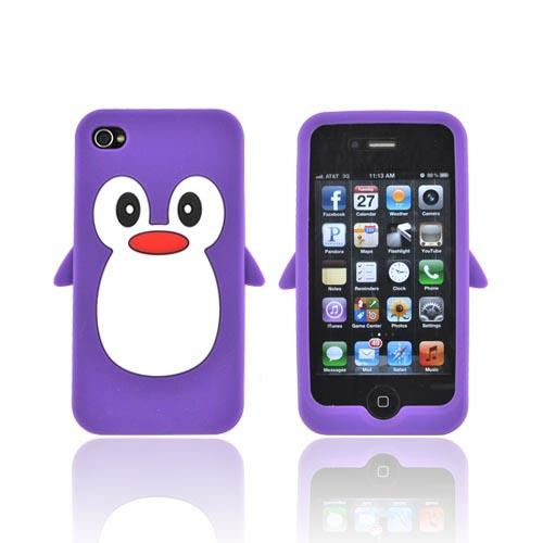 AT&T/ Verizon Apple iPhone 4. iPhone 4S Silicone Case - Purple Penguin
