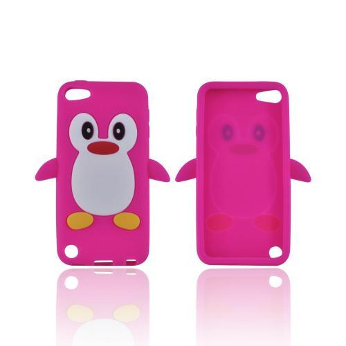 Apple iPod Touch 5 Silicone Case - Hot Pink Penguin
