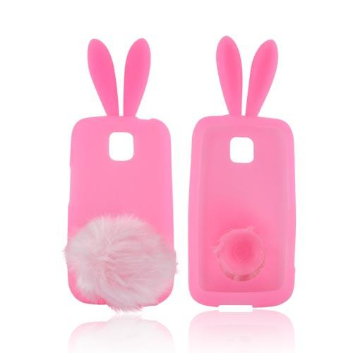 LG Optimus M MS690 Silicone Case w/ Fur Tail Stand - Baby Pink Bunny