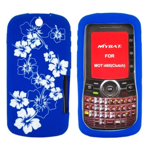Motorola Clutch i465 Silicone Case, Rubber Skin - White Flowers on Blue